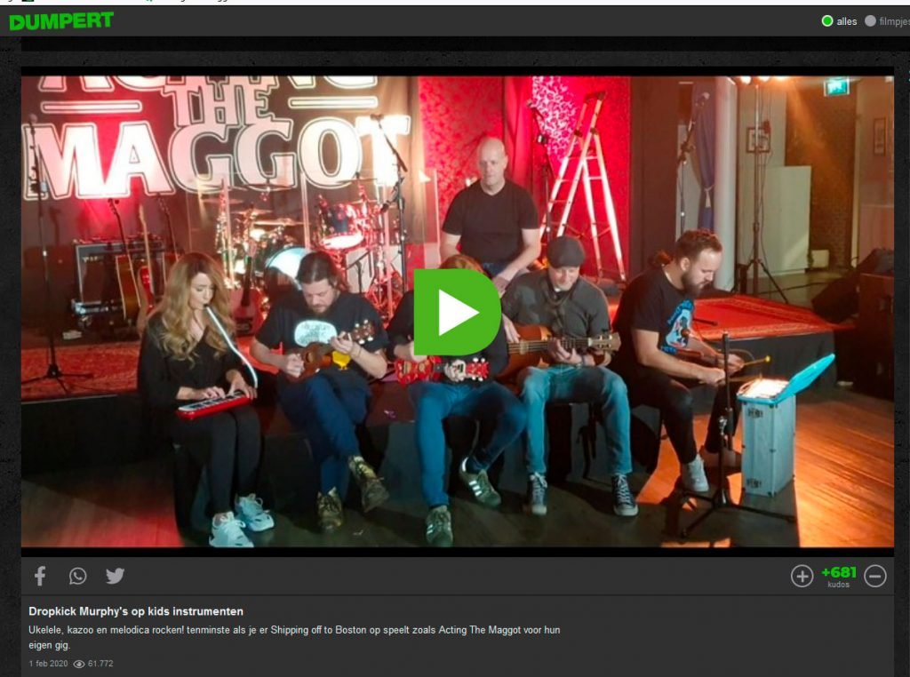 Dropkick Murphys op kids instrumenten Dumpert Acting The Maggot